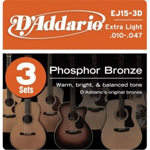 D'Addario Phosphor Bronze 10-47 Acoustic Guitar Strings 3 Pack