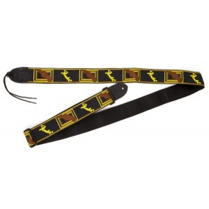 "Fender 2"" Monogrammed Guitar Strap - Black/Yellow/Brown"