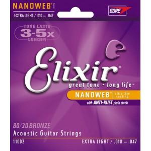 Elixir nanoweb coated Acoustic strings. Extra Light .010 - .047