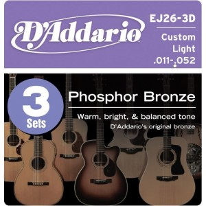 D'Addario Phosphor Bronze 11-52 Acoustic Guitar Strings 3 Pack