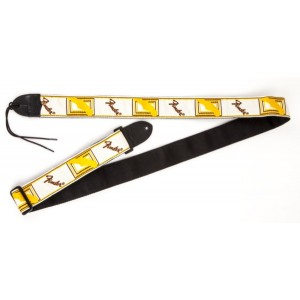 "Fender 2"" Monogrammed Guitar Strap - White/Brown/Yellow"